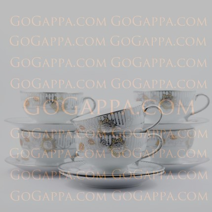 charming silver tea cups and saucer set