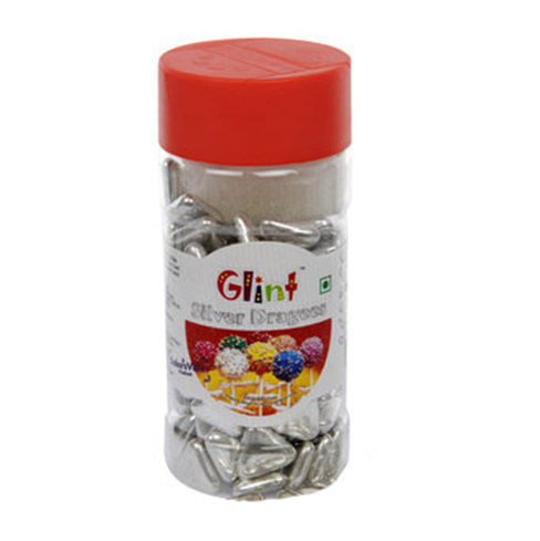 Sprinkles and Edible Shapes,Glint,Glint Silver Traingle  Dragees (100g)