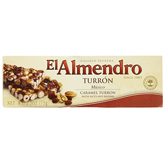 El Almendro Caramel Turron With Nuts And Raisins (