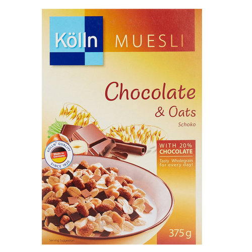 Breakfast,Kolln Muesli,Chocolate and Oats with 20% Chocolate (375g)