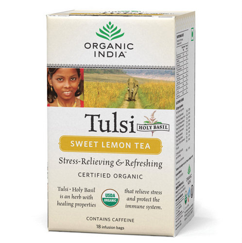 Green Tea,Organic India,Tulsi Sweet Lemon Tea (18 Infusion Bags)