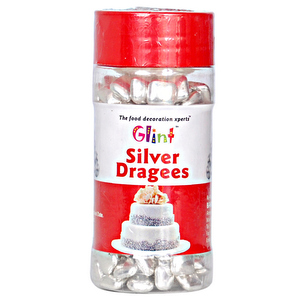 Sprinkles and Edible Shapes,Glint,Glint Silver Square Dragees (100g)