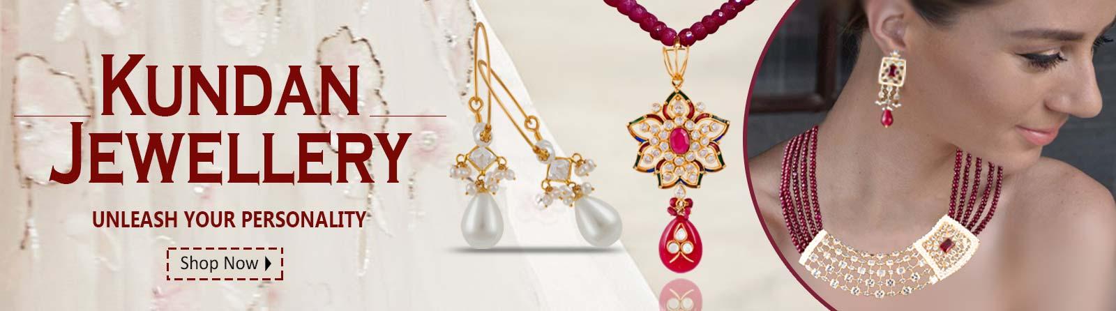Kundan Polki Open Setting Gold Jewellery Banner