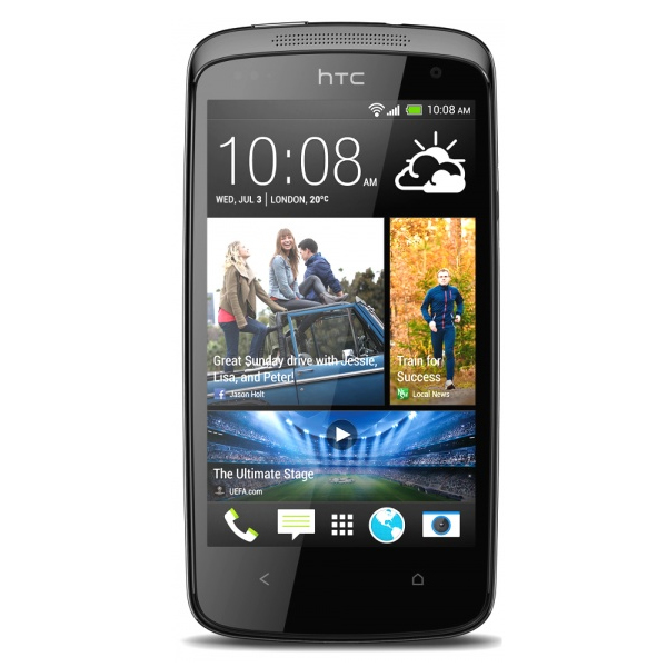Smart Phones, Mobile Phones, HTC, HTC Desire 500 (Black) , 12 hrs (3G) , 435 hrs (3G) , 123 g , 66.9x131.8x9.9 mm , Primary Camera: Auto Focus, Continuous Shoot and Video Pic, HTC Image Chip, BSI Sensor, HTC Share, Slow Motion Video Recording with Variable Speed Playback, Multi-shot Mode, Burst Mode, Rapid Fire Shutter  Secondary Camera: BSI Sensor , Yes, 8 Megapixel , Yes, 1.6 Megapixel , Yes, 720 x 1280 , Yes , Yes, v4 , Yes , Yes ,  , 4.3 Inches, WVGA, 480 x 800 Pixels , Yes , Android ,  ,  , Android , Ambient Light Sensor, Proximity Sensor, Accelerometer , 1.2 GHz Qualcomm Snapdragon 200, Quad Core ,  , Yes, 7.2 Mbps HSDPA , Dual SIM (GSM + GSM) , Yes ,  , microSD, upto 64 GB , 4 GB Internal Storage , Yes