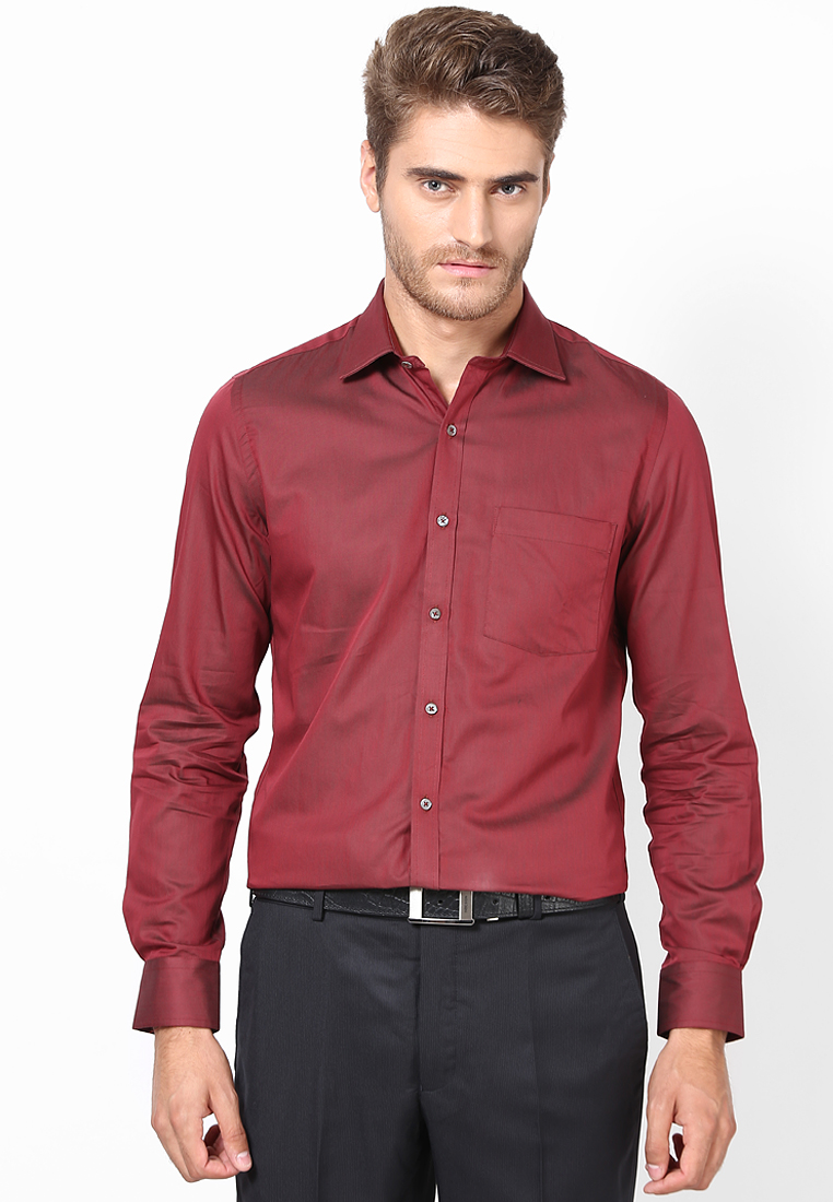 Solid Deep Red Formal Shirt 55690 1002
