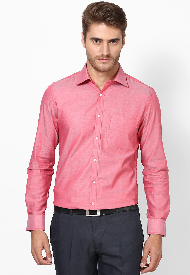 Solid Light Red Formal Shirt 55695 1004