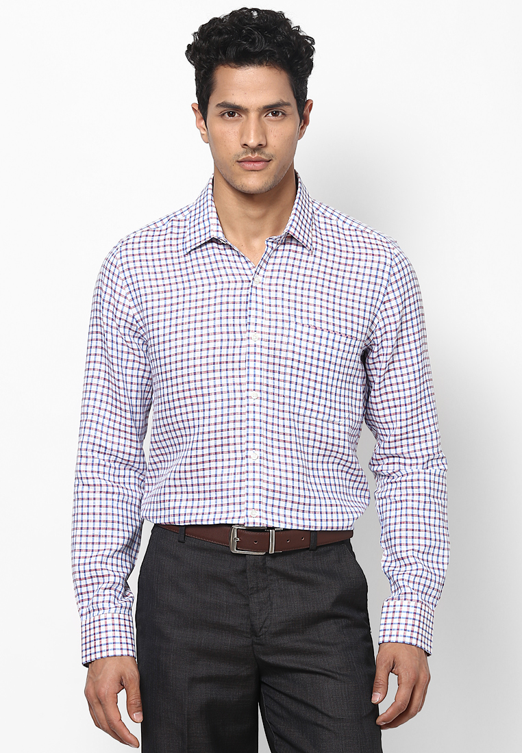 Turtle Checked Linen Blue & Red Shirt 55721 1001