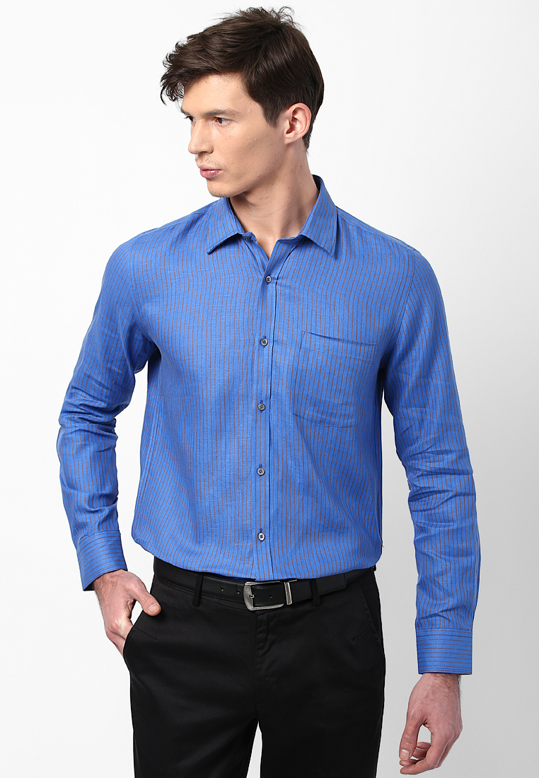 Turtle Striped Linen Blue Shirt 55723 1001