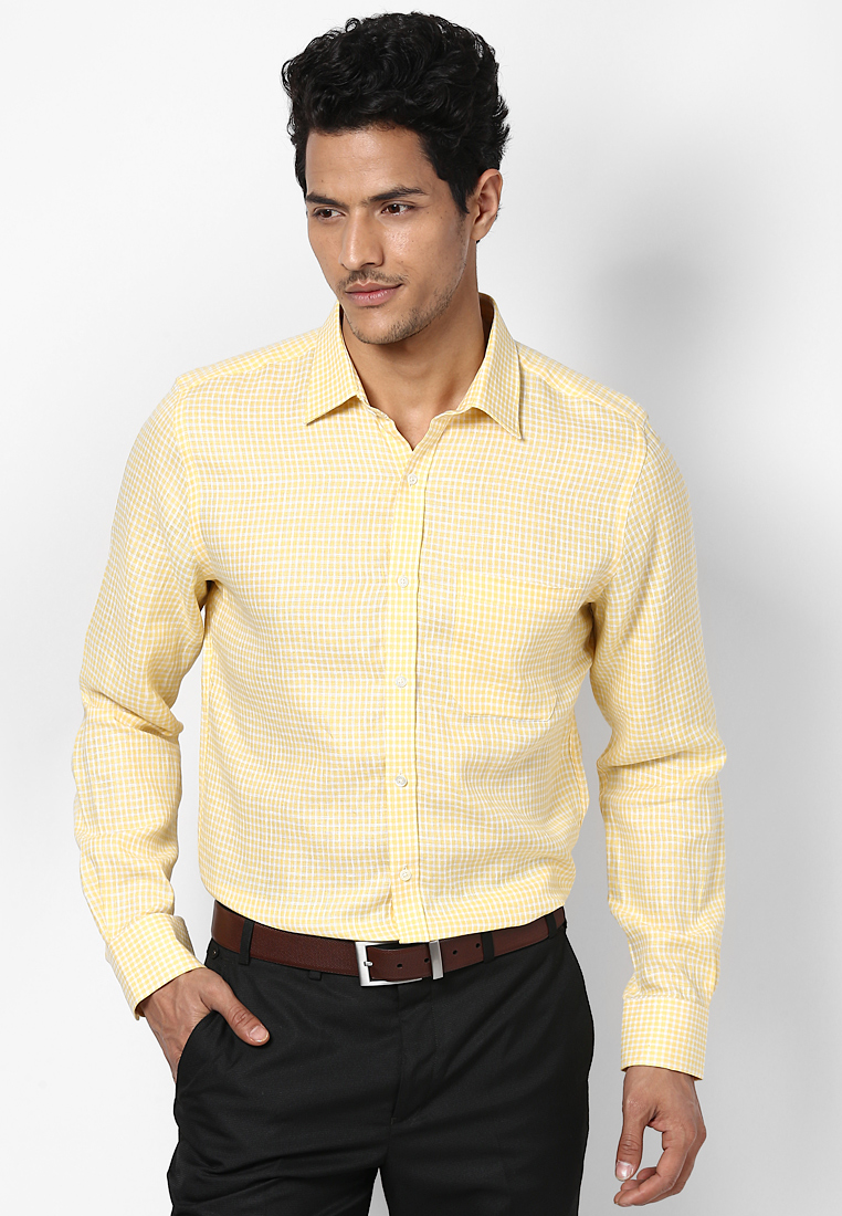 Turtle Checked Linen Yellow Shirt 55725 1001