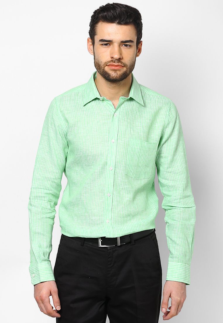 Turtle Striped Linen Green Shirt 55728 1002