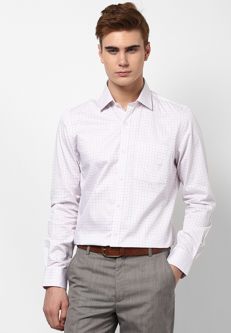 Turtle White, Orange & Blue Checked Formal Shirt 55753 1001