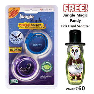 Mosquito Repellent, Personal Safety, All Products, Jungle Magic, Jungle Magic Mosquito Banditz Batty (Pack of 2) , Yes , 15 Days each band , Certification by Government Certified External Laboratory  , Junglee Magic , JmBatty , Citronella oil