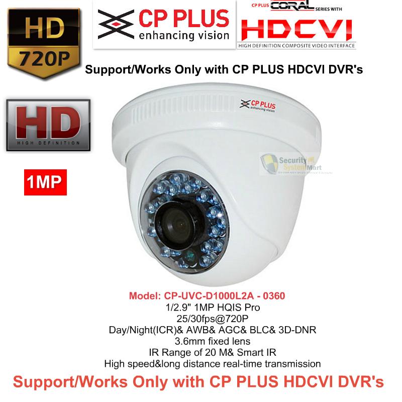 IR Night Vision Cameras,CP PLUS,CP PLUS HD CCTV Camera DOME CP-UVC-D1000L2A (1MP)