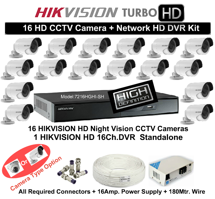 16 CCTV Cameras & DVR Kit,Hikvision,HD HIKVISION 16 CCTV Camera DVR Kit (With All Accessories and Wire)