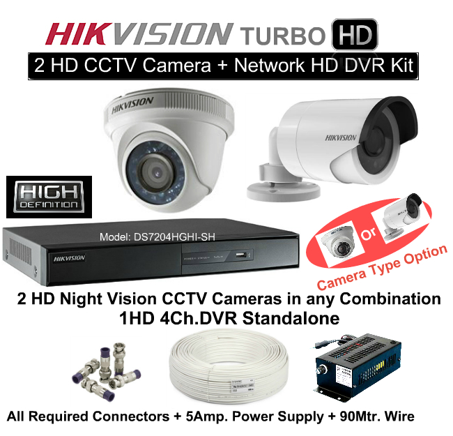 4 CCTV Cameras & DVR Kit,Hikvision,HD HIKVISION 2 CCTV Camera DVR Kit (With All Accessories and Wire)