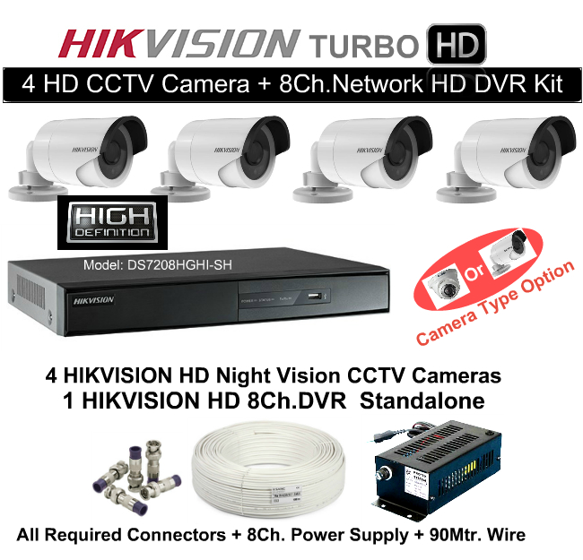 4 CCTV Cameras & DVR Kit,Hikvision,HD HIKVISION 4 CCTV Camera + 8Ch. DVR Kit (With All Accessories and Wire)