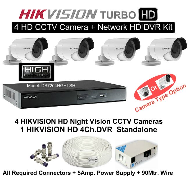 4 CCTV Cameras & DVR Kit,Hikvision,HD HIKVISION 4 CCTV Camera DVR Kit (With All Accessories and Wire)