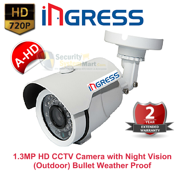 IR Night Vision Cameras,Ingress,Ingress HD CCTV Camera with Night Vision (1.3MP, 720P) Outdoor Bullet