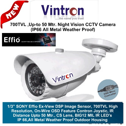 IR Night Vision Cameras,Vintron,Vintron 700TVL CCTV Camera with 50Mtr. Night Vision (Weather Proof)