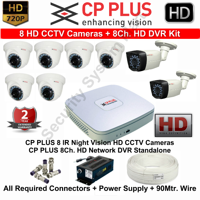 8 CCTV Cameras & DVR Kit,CP PLUS,CP PLUS HD CCTV Cameras 8 with 8Ch. HD DVR Kit with All Accessories