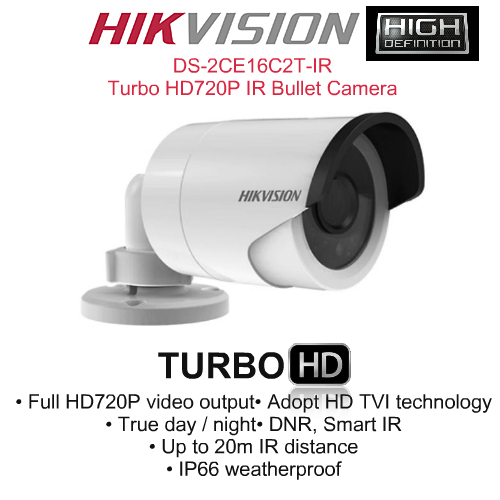 IR Night Vision Cameras,Hikvision,HIKVISION DS-2CE16C2T-IR Turbo HD720P IR Bullet Camera