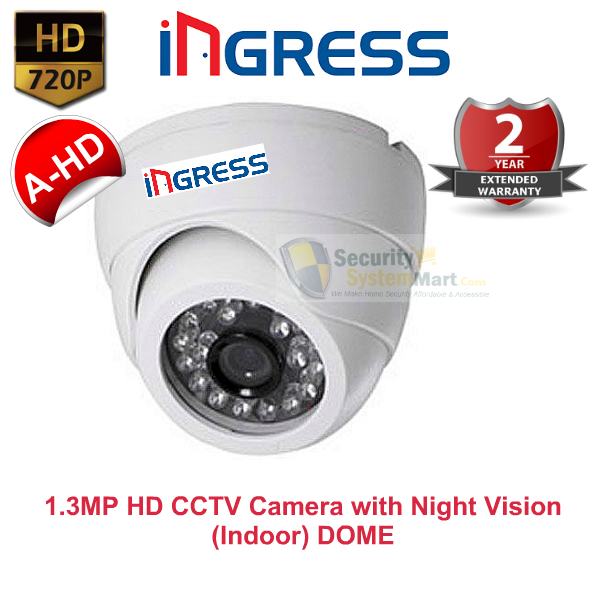 IR Night Vision Cameras,Ingress,Ingress HD CCTV Camera with Night Vision (1.3MP, 720P) Indoor DOME