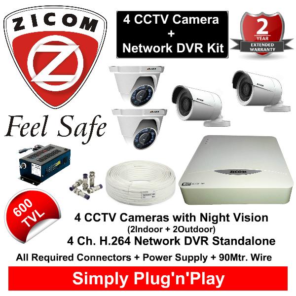 8 CCTV Cameras & DVR Kit,Zicom,ZICOM 4 CCTV Cameras (600TVL) with DVR Kit with All Accessories