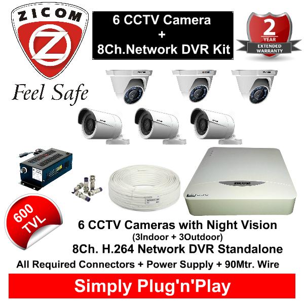 8 CCTV Cameras & DVR Kit,Zicom,ZICOM 6 CCTV Cameras (600TVL) with 8Ch. DVR Kit with All Accessories