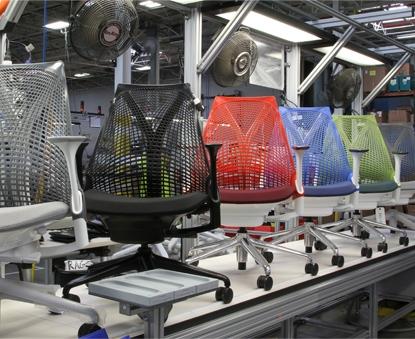 Sayl Chair Color Options on Production Line