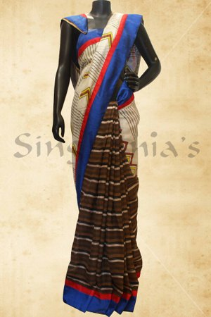 Designer Sarees, Sarees, Singhanias, HALF AND HALF SILK KOTA SAREE WITH HALF PLAIN PRINT-1112BB408870 ,
