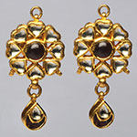 Kundan Earrings,Mangatrai,15.930gms Kundan Earrings in 22kt. Gold