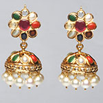 Kundan Earrings,Mangatrai,22.160gms Kundan Earrings in 22kt. Gold