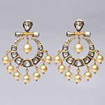 Kundan Earrings,Mangatrai,Kundan Earrings in Yellow Gold & Silver