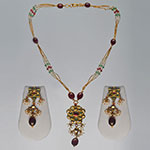 Kundan Locket Sets,Mangatrai,43.200gms Kundan Locket Set in 22kt. Gold