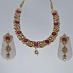 Kundan Necklace Sets,Mangatrai,98.300gms Kundan Necklace Set in 22kt. Gold