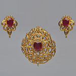 Polki Locket Sets,Mangatrai,3.3ct. Polki Locket Set in 22kt. Gold