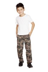 Clifton Boys Army Print Track Pant Walnut