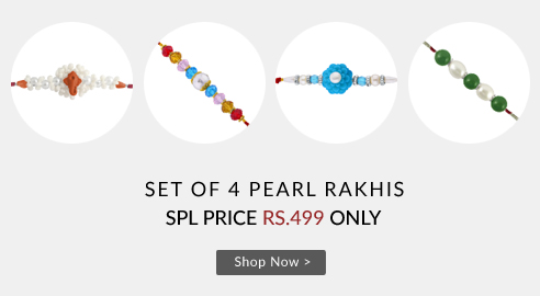 Buy Online Pearl Rakhi Set of 4 Combo