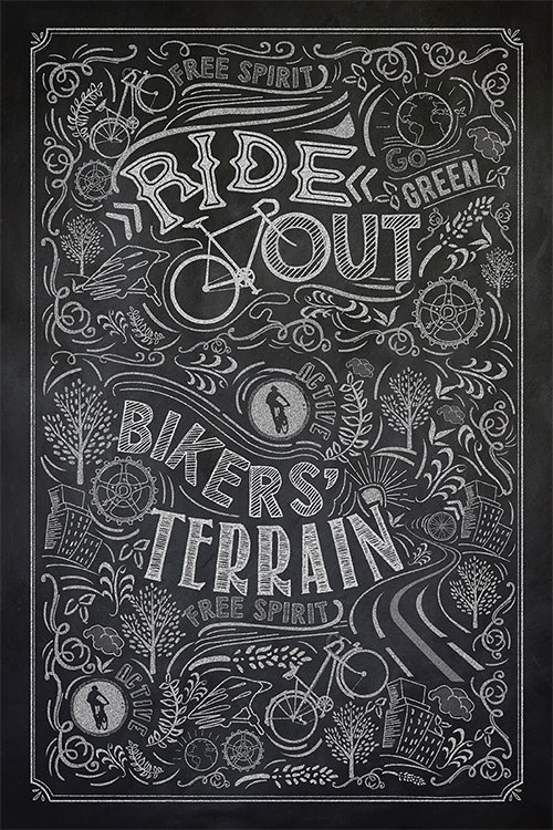 IT Cycling Chalk Board Art
