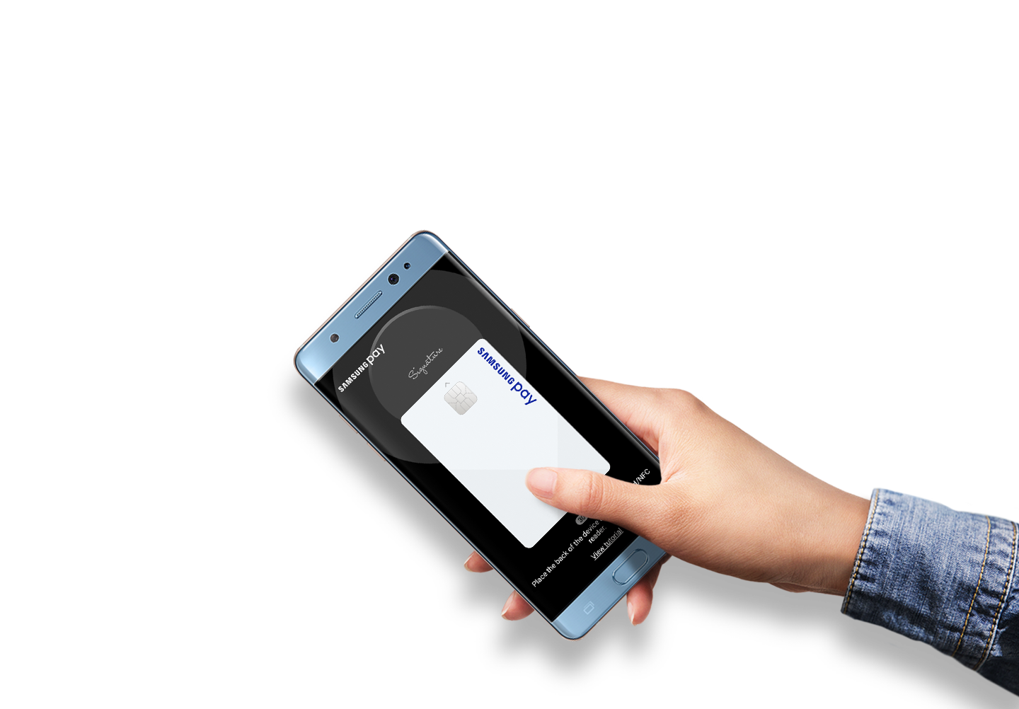Hand is holding Galaxy Note FE Gold Platinum with Samsung Pay screen