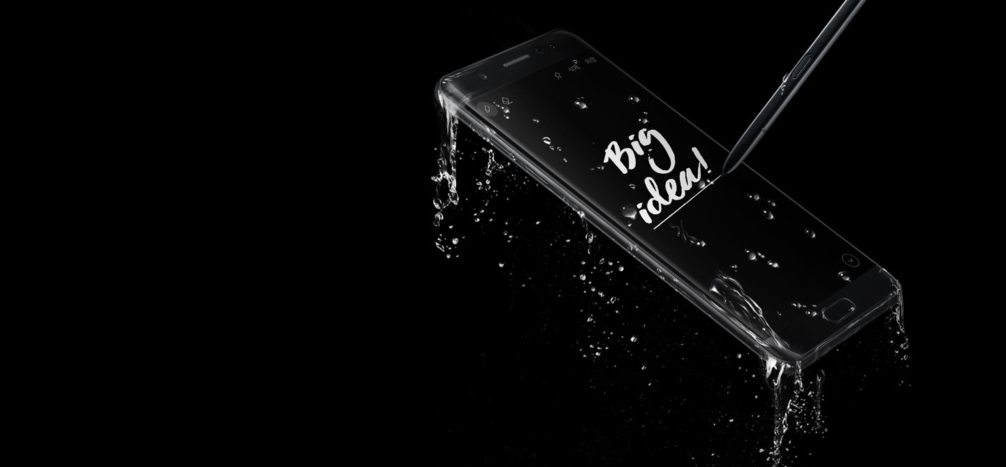 Galaxy Note FE Black Coral is fully water resistant. Create Big Ideas with S Pen.  Write on screen even when fully submerged in water.