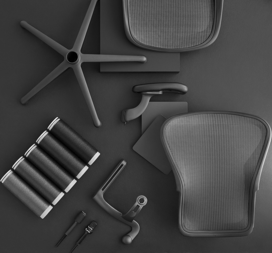 Aeron Chair Components with a Mineral Finish