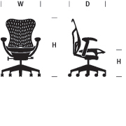 Mirra 2 Chair Dimensions Graphic
