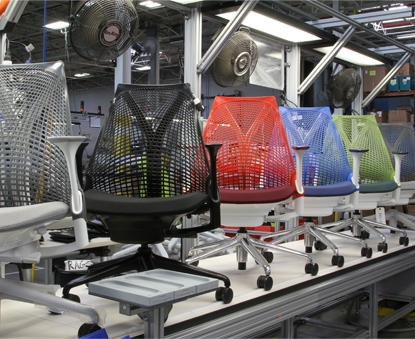 Sayl Chair Color Options on Production Line