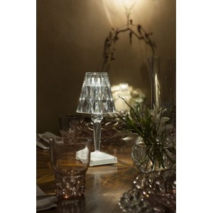 battery is our signature small lamp shade made of transparent pmma its innovation lies in the fact that it can be recharged via a usb cable battery table lamps ferruccio laviani